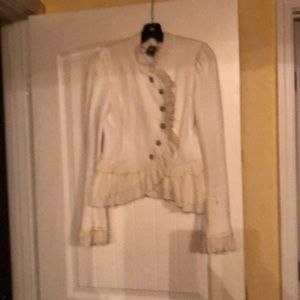 Free People size 6 white-ruffle band jacket